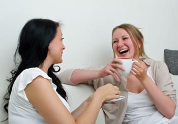 Women having a meaningful conversation